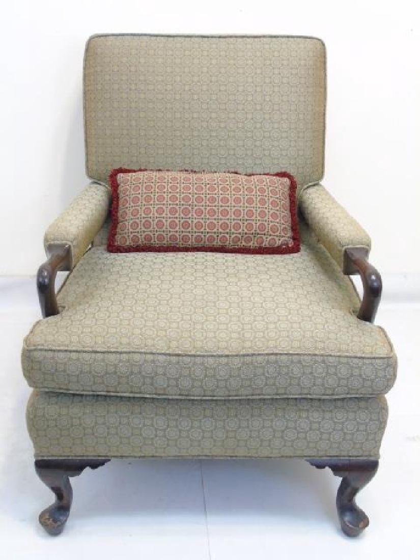 Upholstered Arm Chair with Wood Frame & Pillow