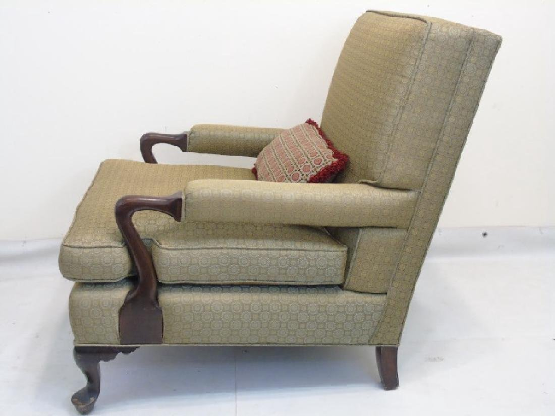 Upholstered Arm Chair with Wood Frame & Pillow - 3