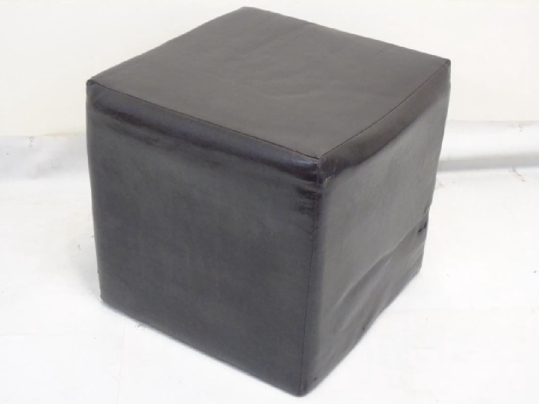 Modern Leather Cube Stool & Mushroom Ottoman - 3