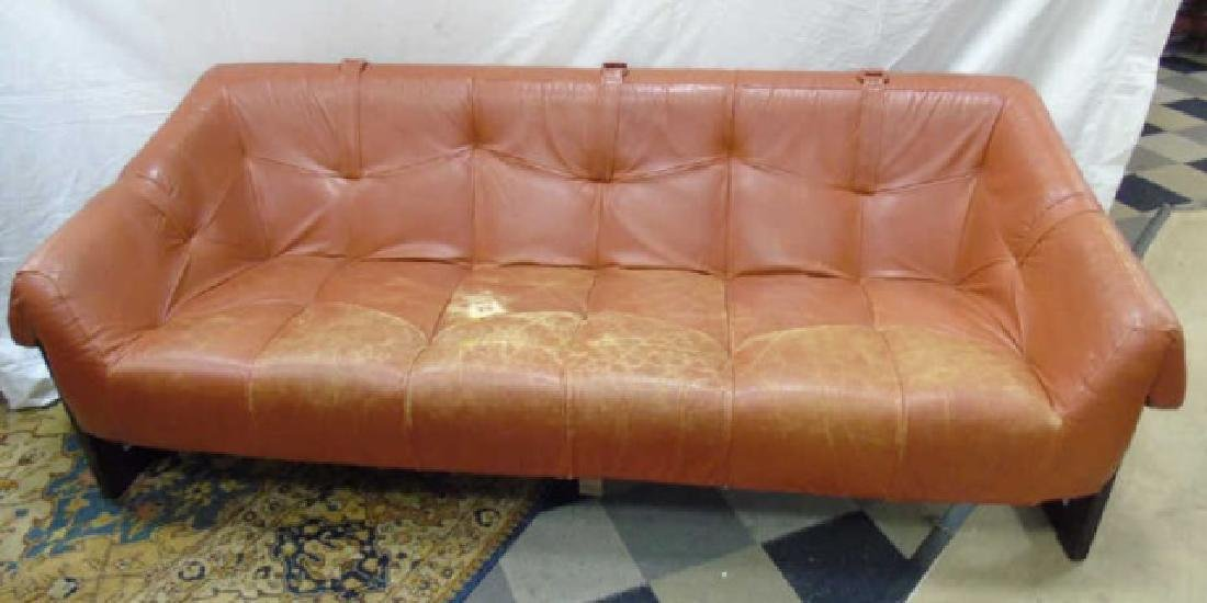 Mid Century Leather Burnt Orange Couch, Wood Frame