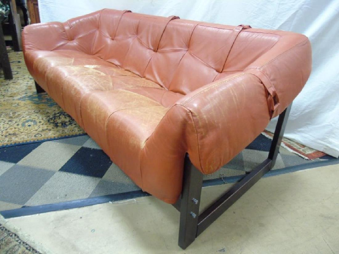 Mid Century Leather Burnt Orange Couch, Wood Frame - 2