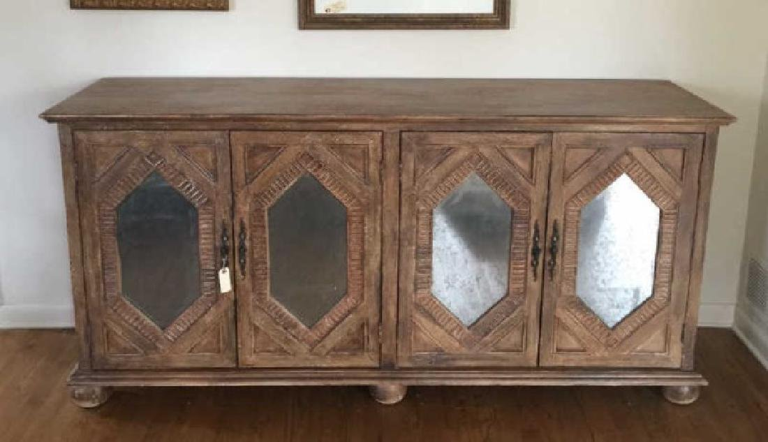 Custom Contemporary Mirrored Panel Console