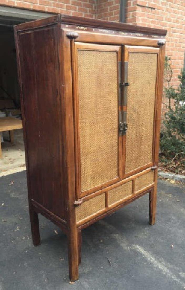 Contemporary Asian Style Rattan Front Armoire