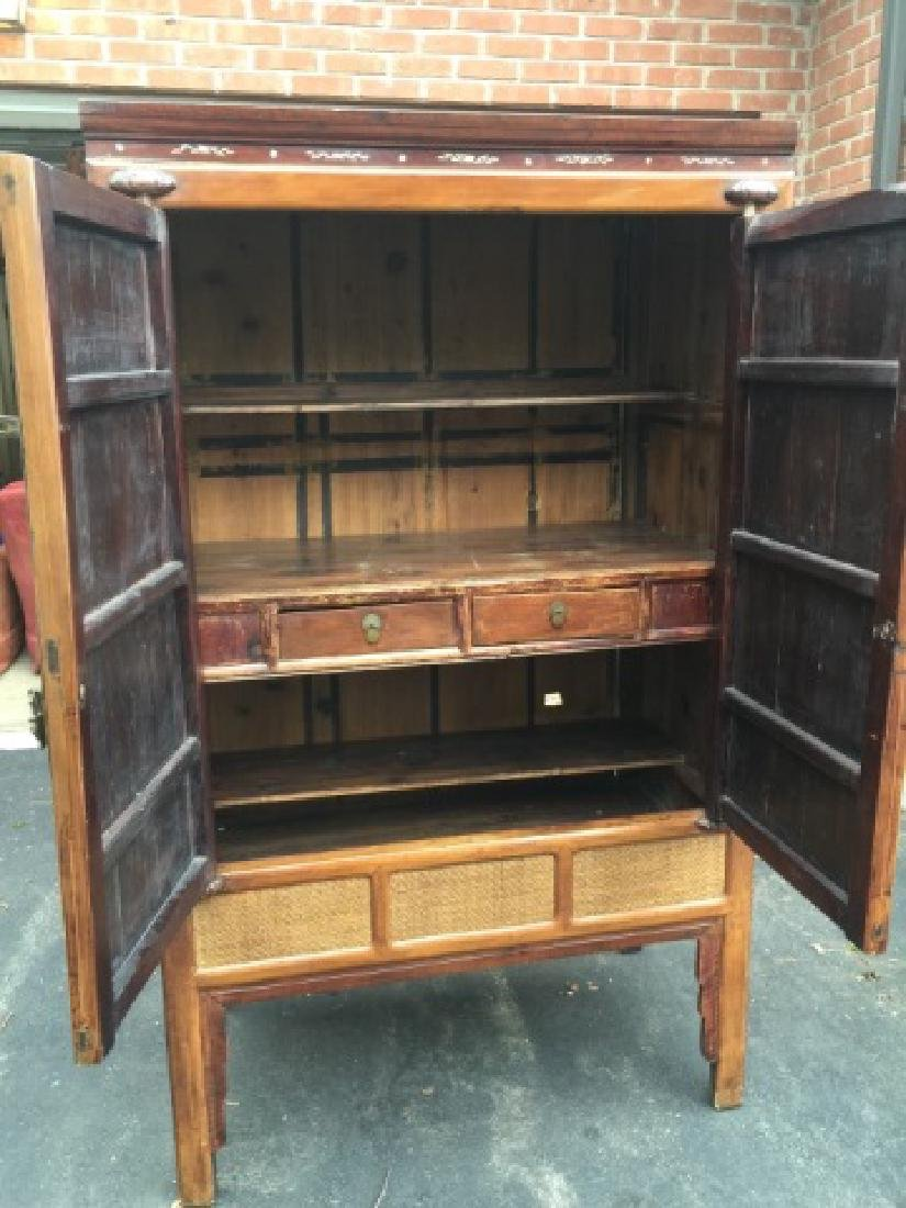 Contemporary Asian Style Rattan Front Armoire - 2