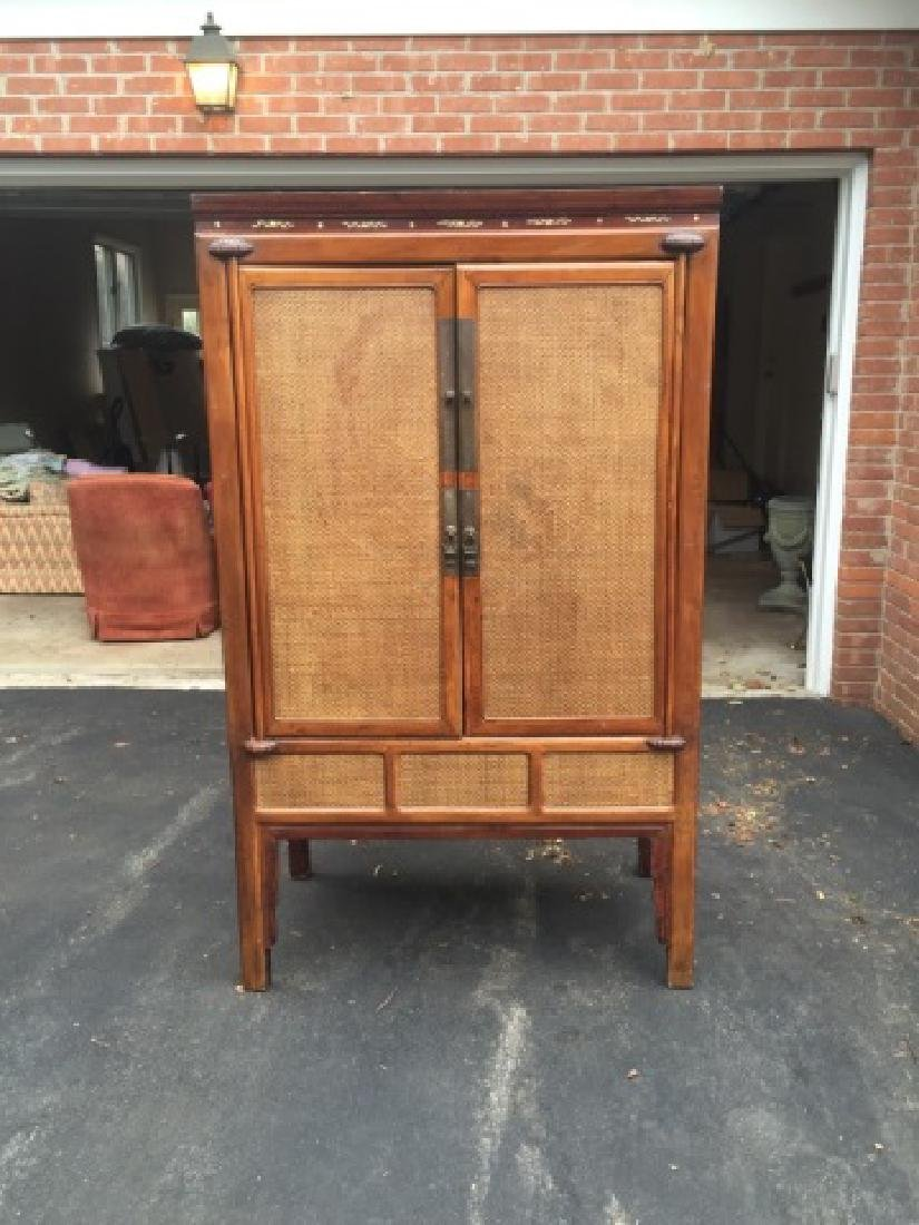 Contemporary Asian Style Rattan Front Armoire - 3