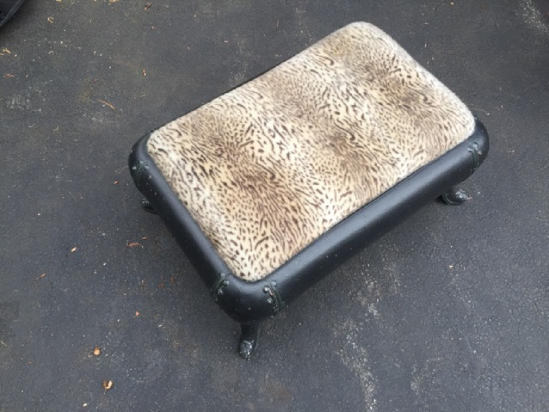 Custom Made Cast Iron & Fur Ottoman / Stool - 2
