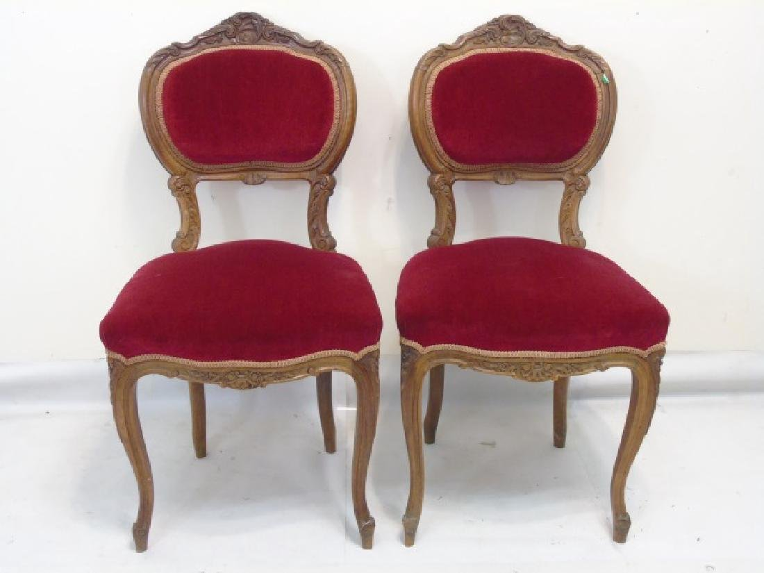 Pair of Antique Carved Wood Red Velvet Chairs