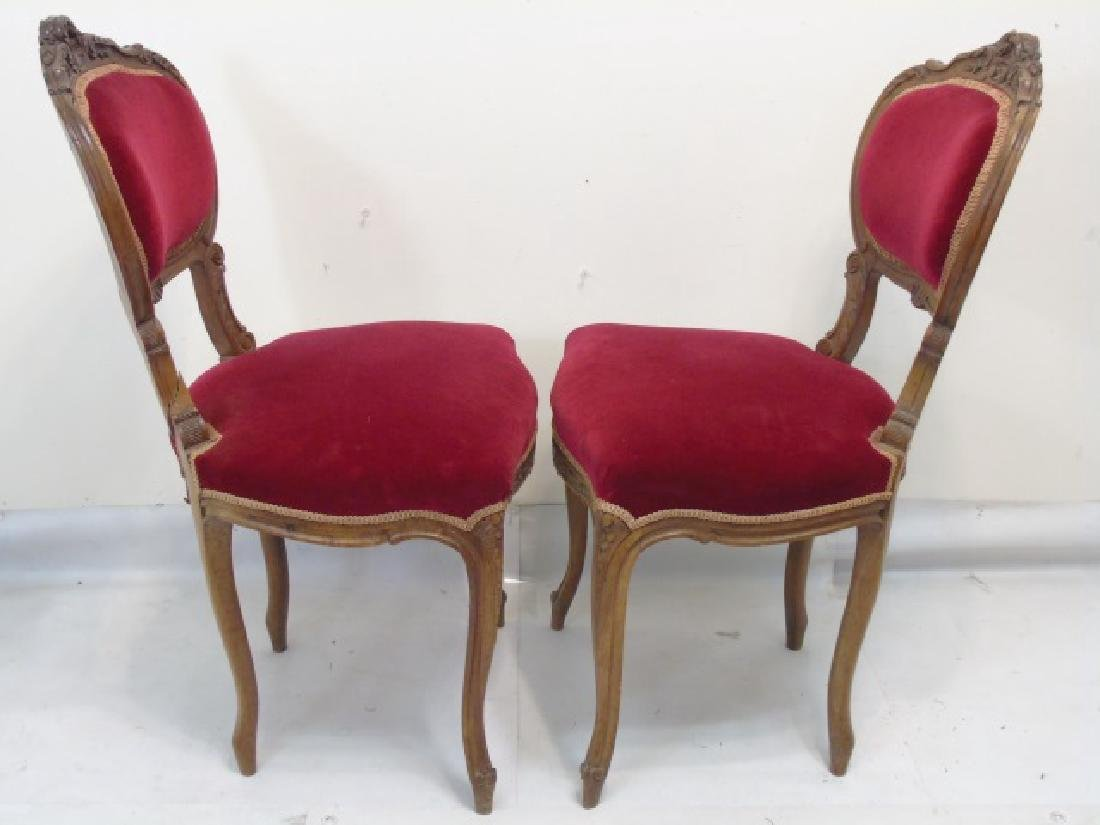 Pair of Antique Carved Wood Red Velvet Chairs - 2