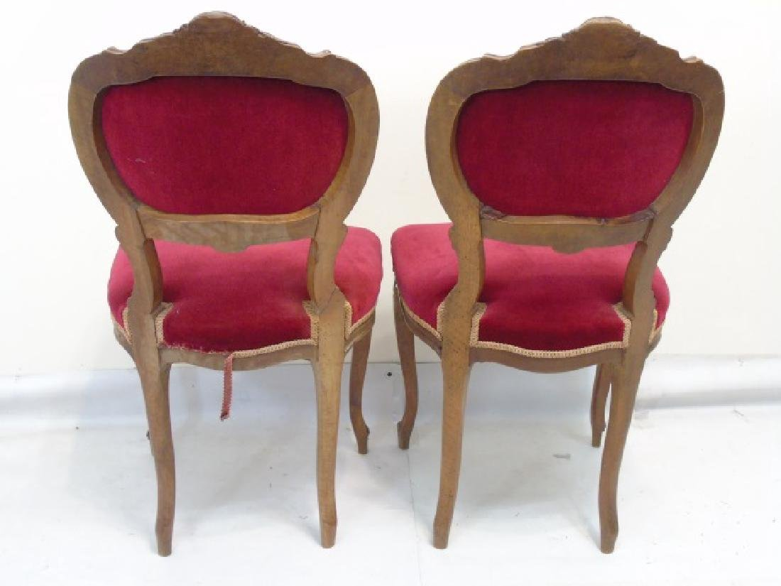 Pair of Antique Carved Wood Red Velvet Chairs - 3