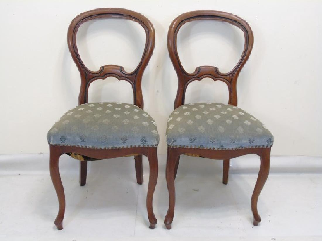 Pair of Antique Curved Wood Sage Velvet Chairs