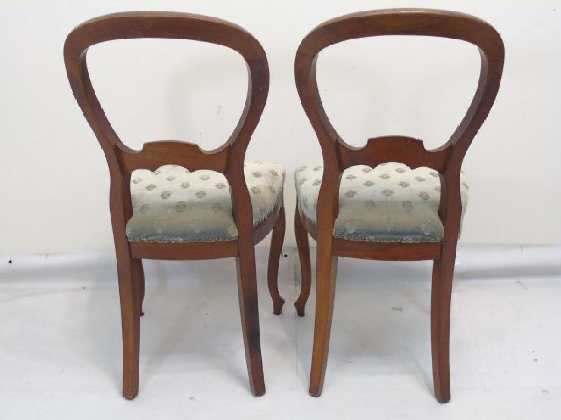 Pair of Antique Curved Wood Sage Velvet Chairs - 2