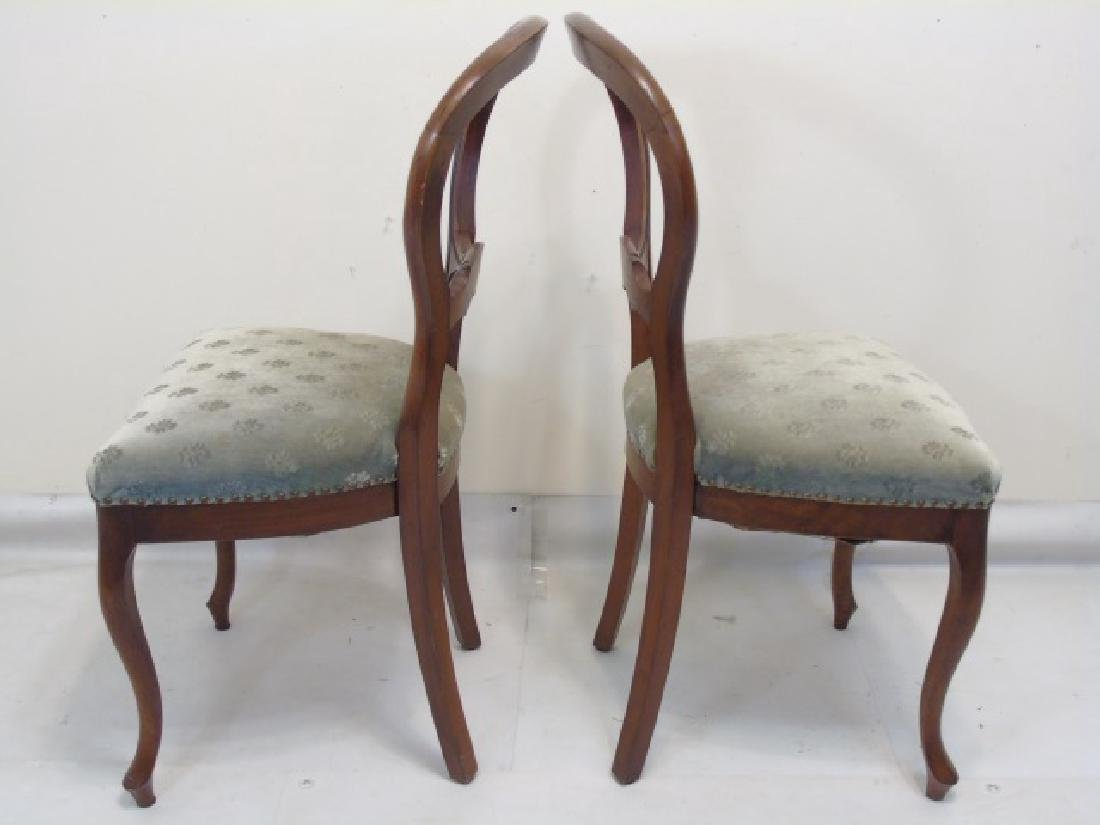 Pair of Antique Curved Wood Sage Velvet Chairs - 3