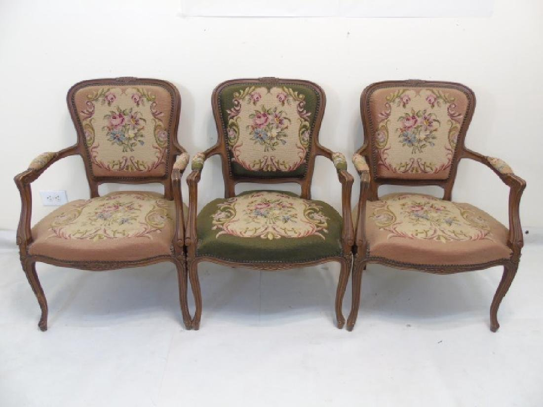 3 Antique Needlepoint Armchairs with Nailhead Trim