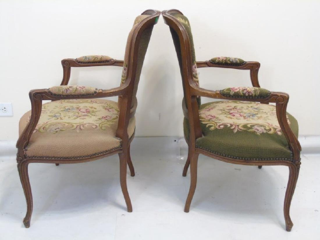 3 Antique Needlepoint Armchairs with Nailhead Trim - 3