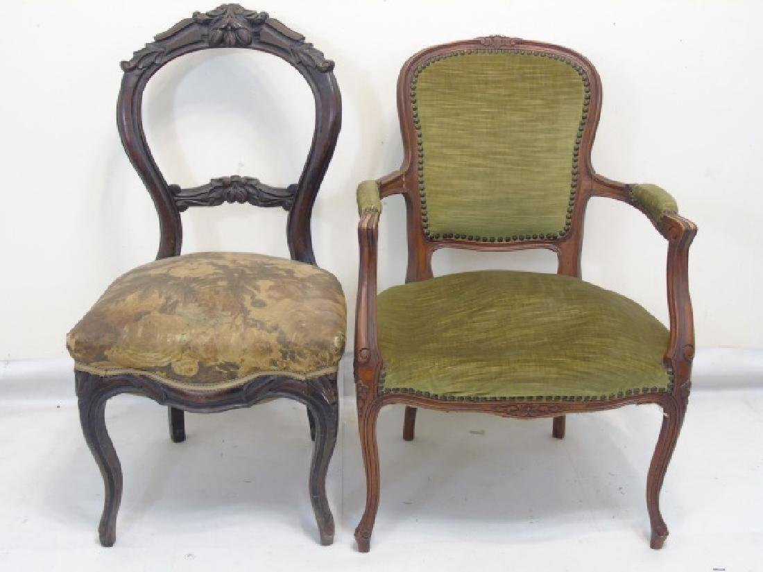 2 Antique Carved Wood Upholstered Chairs