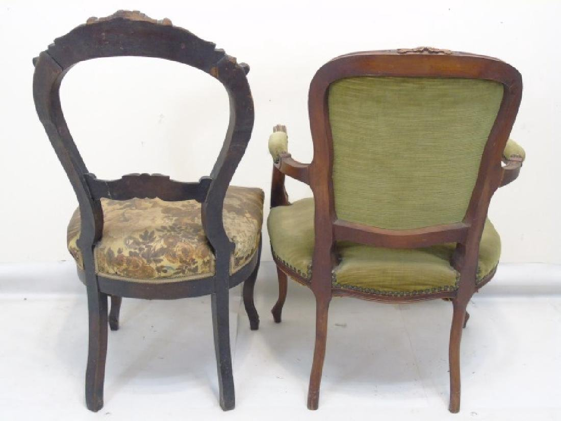 2 Antique Carved Wood Upholstered Chairs - 2