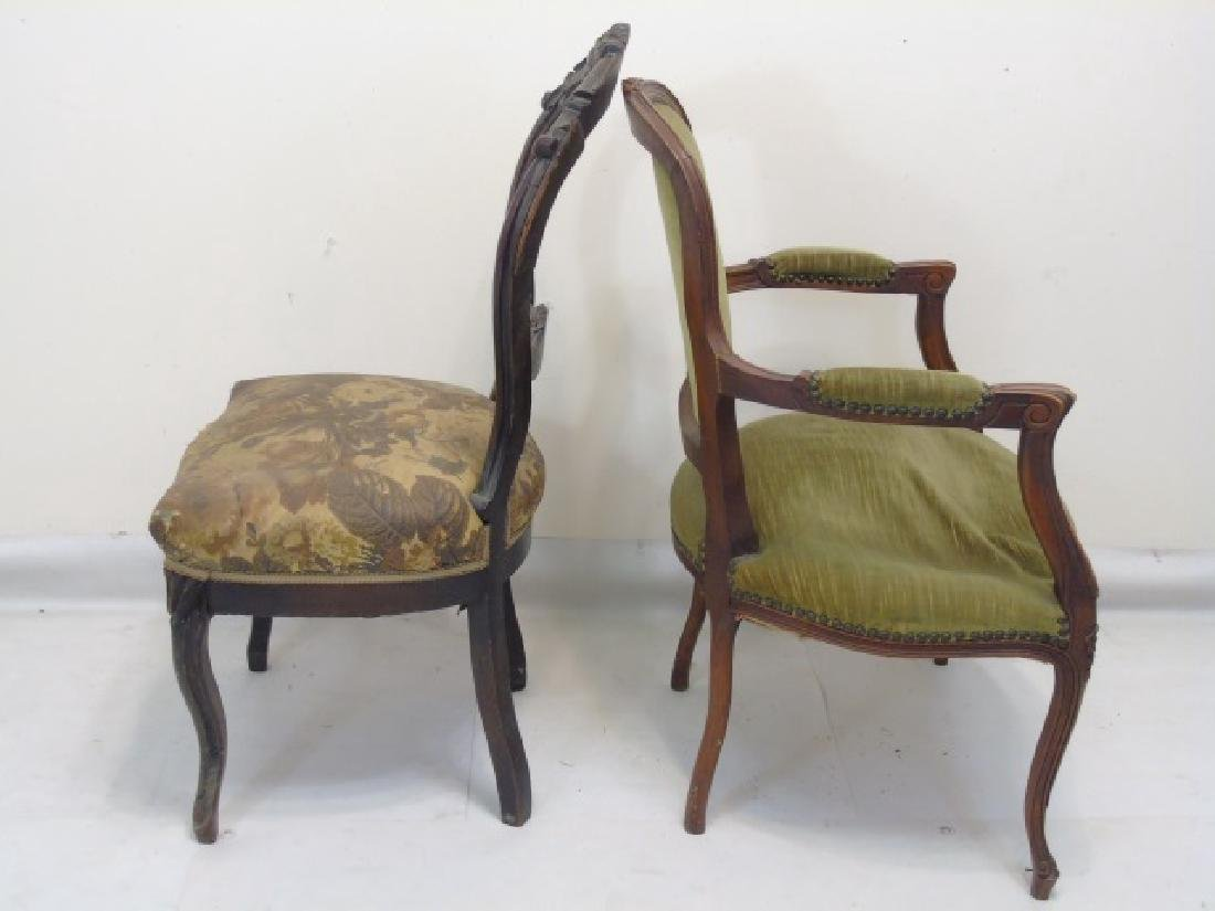 2 Antique Carved Wood Upholstered Chairs - 3