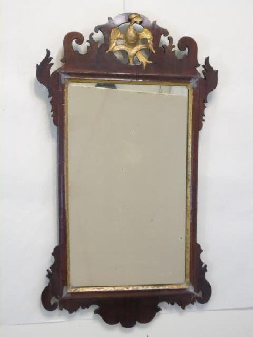 18th C Dark Wood Mirror with Gold Phoenix at Top