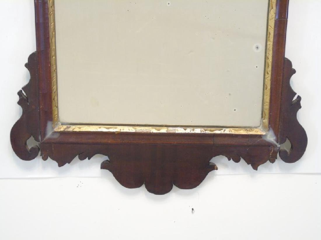 18th C Dark Wood Mirror with Gold Phoenix at Top - 2
