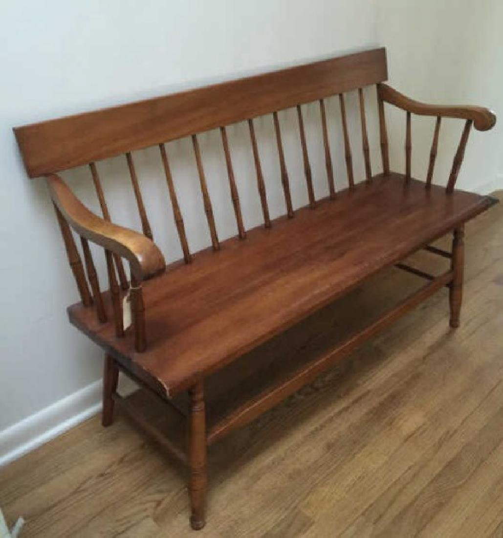 Early American Style Carved Pine Bench