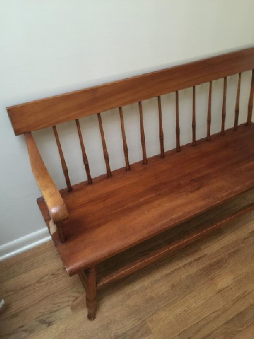 Early American Style Carved Pine Bench - 2