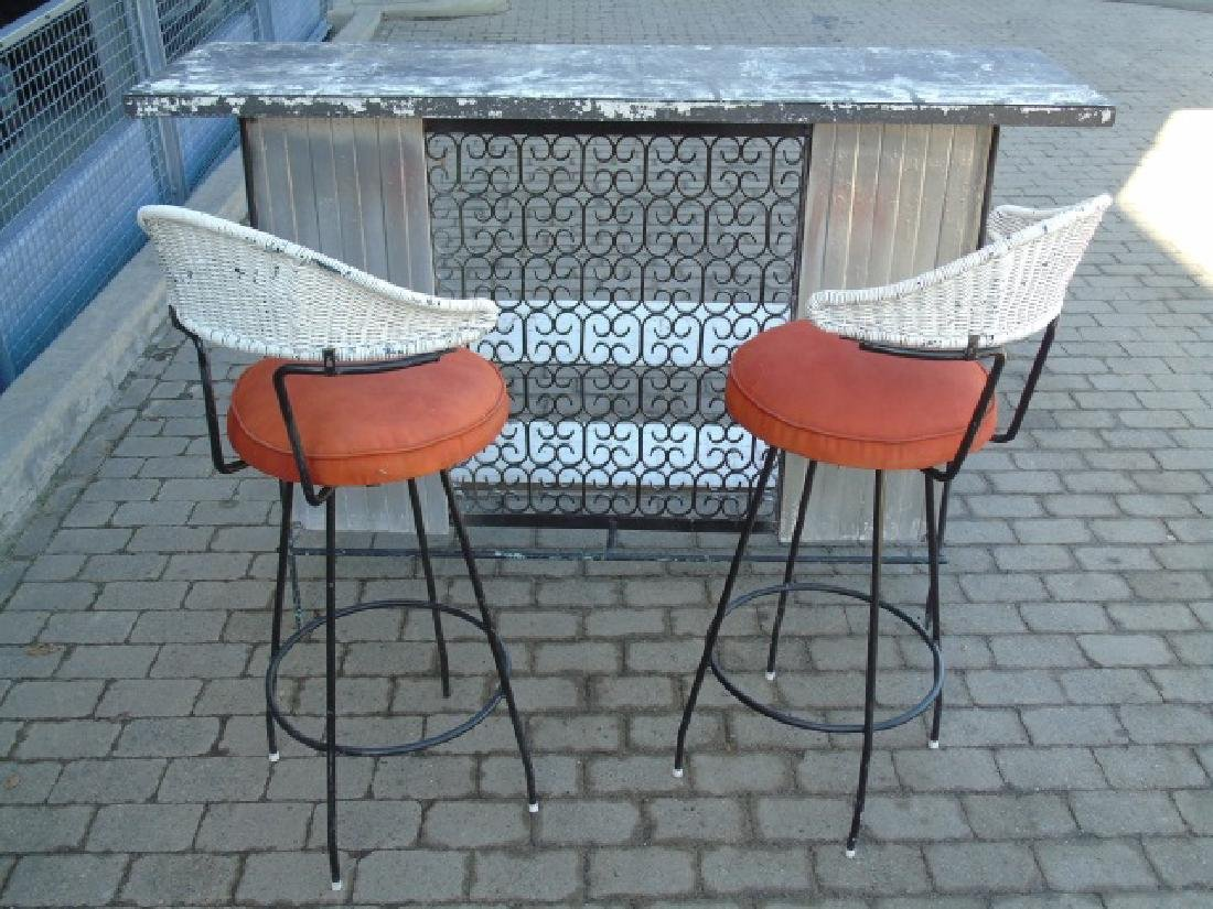 Vintage Outdoor Bar & Pair Stools for Patio / Deck