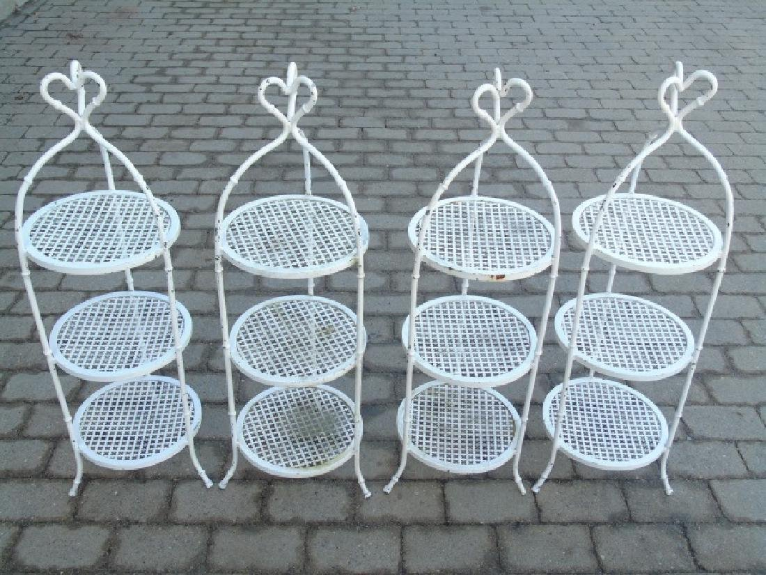 4 Cast Iron White Painted Serving Caddy Stands