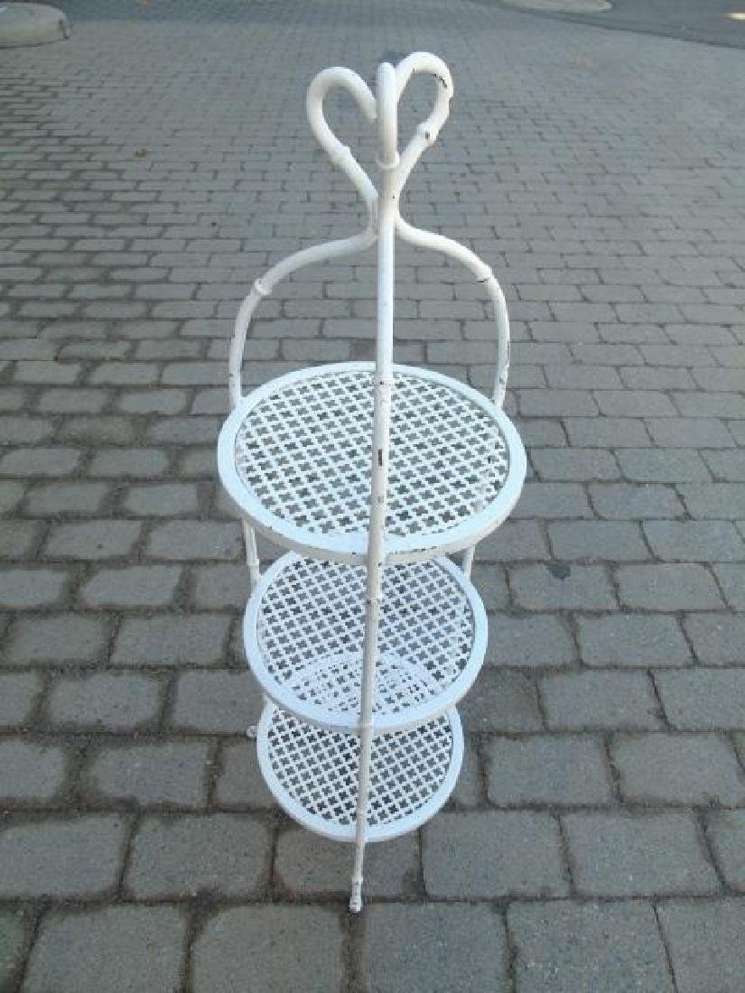 4 Cast Iron White Painted Serving Caddy Stands - 2
