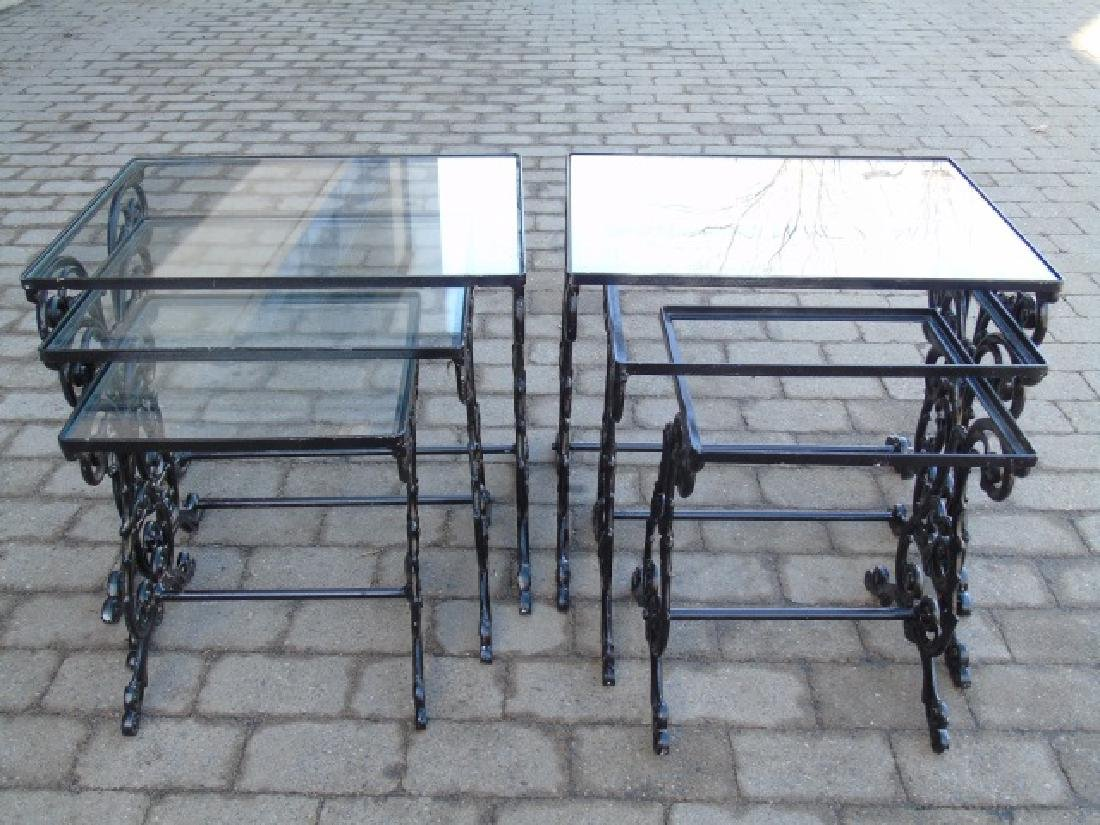 2 Pairs Iron & Glass Patio / Deck Nesting Tables