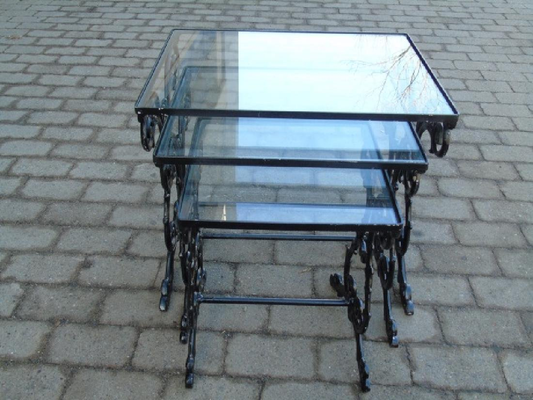 2 Pairs Iron & Glass Patio / Deck Nesting Tables - 2