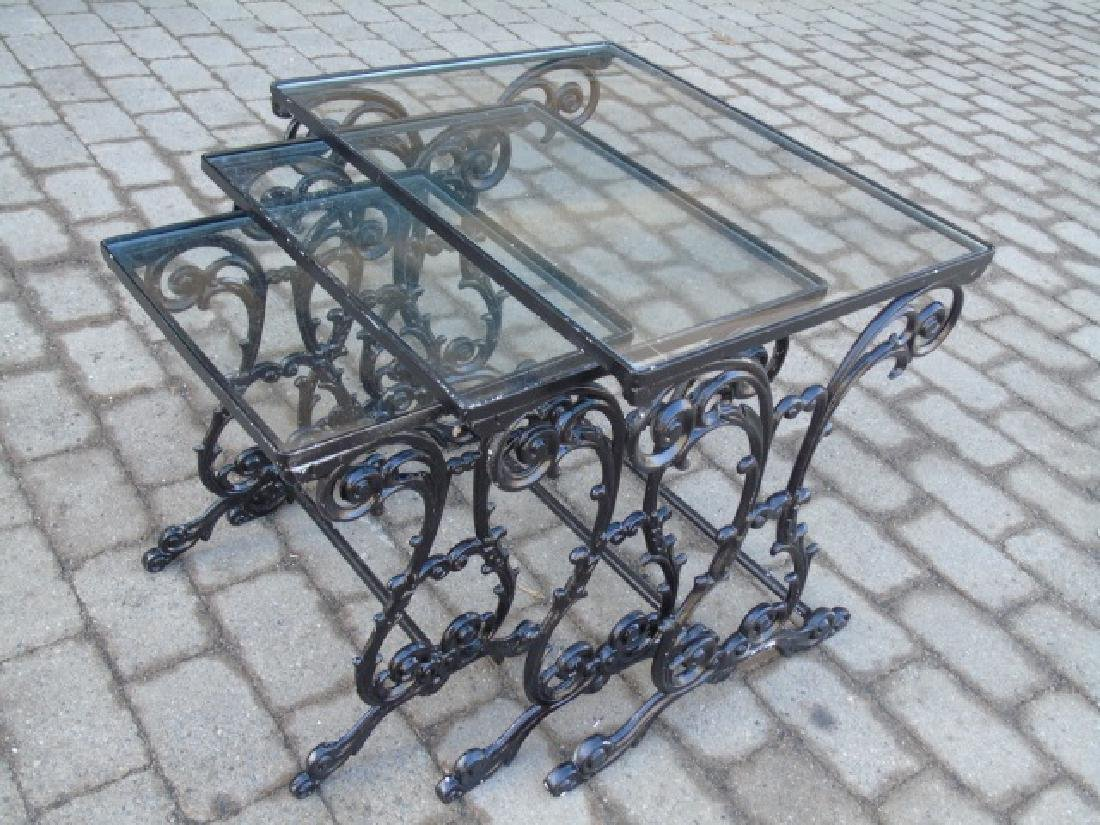 2 Pairs Iron & Glass Patio / Deck Nesting Tables - 3
