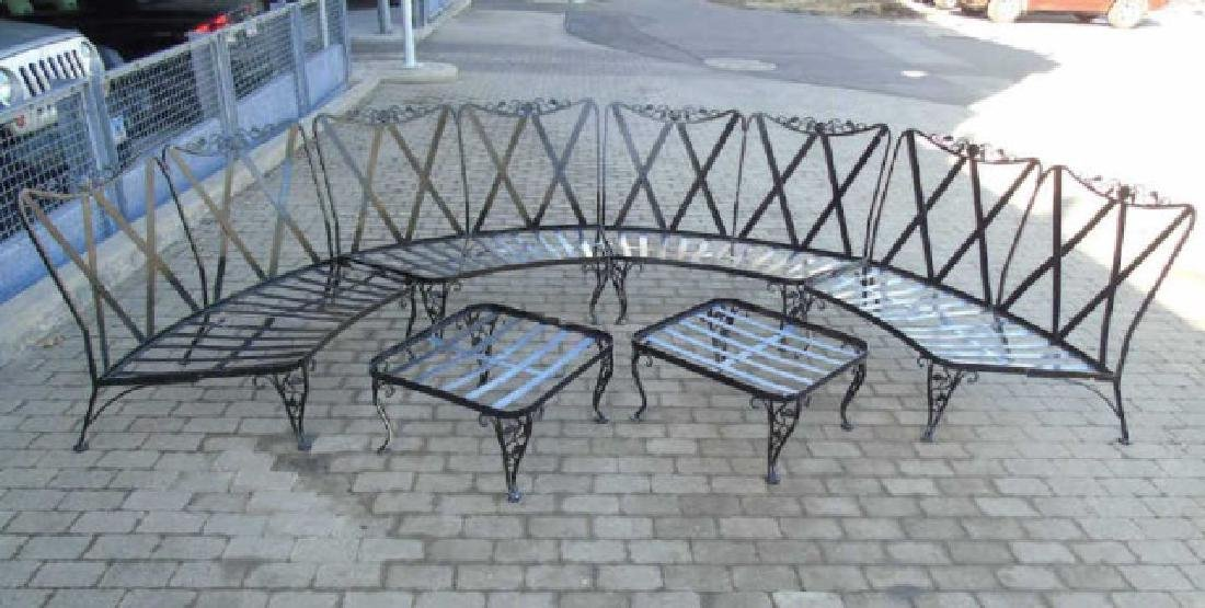 Four Piece Curved Patio / Deck Settee & 2 Tables