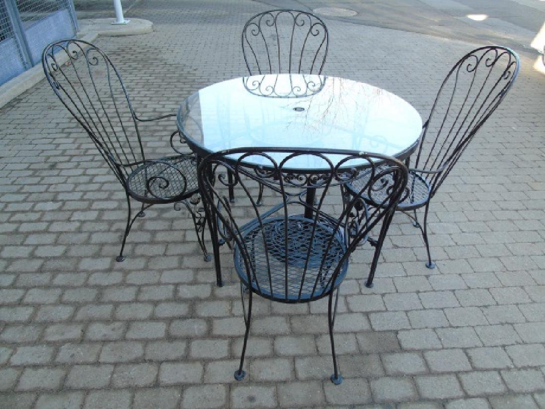 Six Piece Black Metal Patio / Deck Dining Set