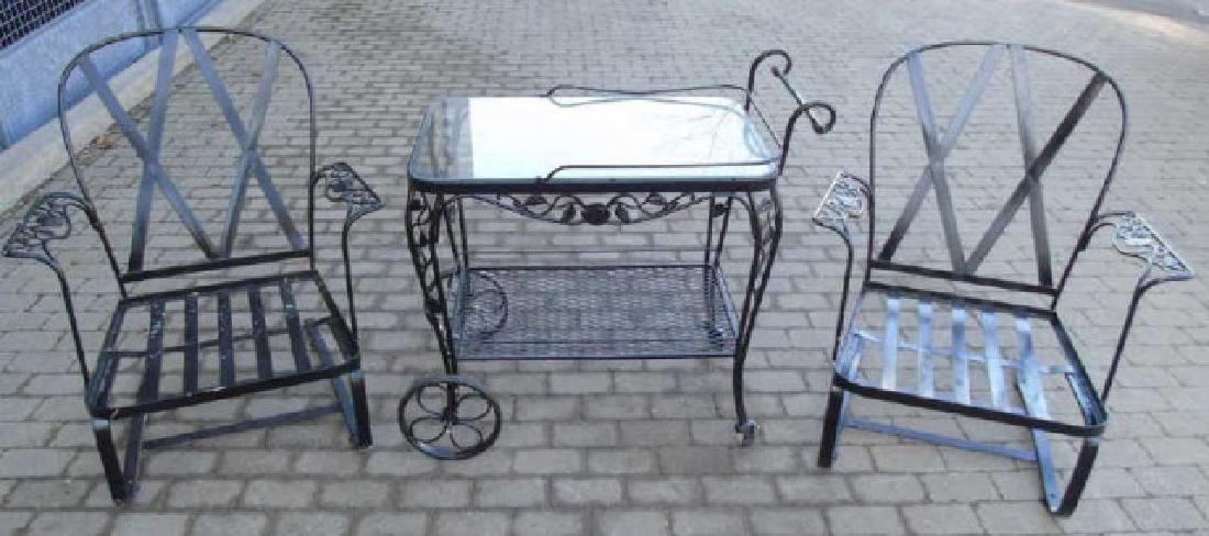 Pair Outdoor Deck / Patio Chairs & Bar Cart Server