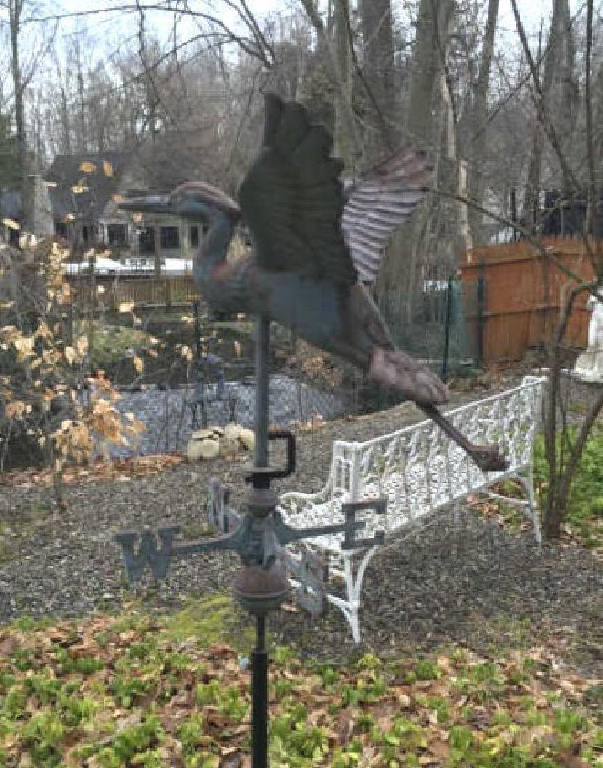 Vintage Weathervane on Stand of a Flying Crane