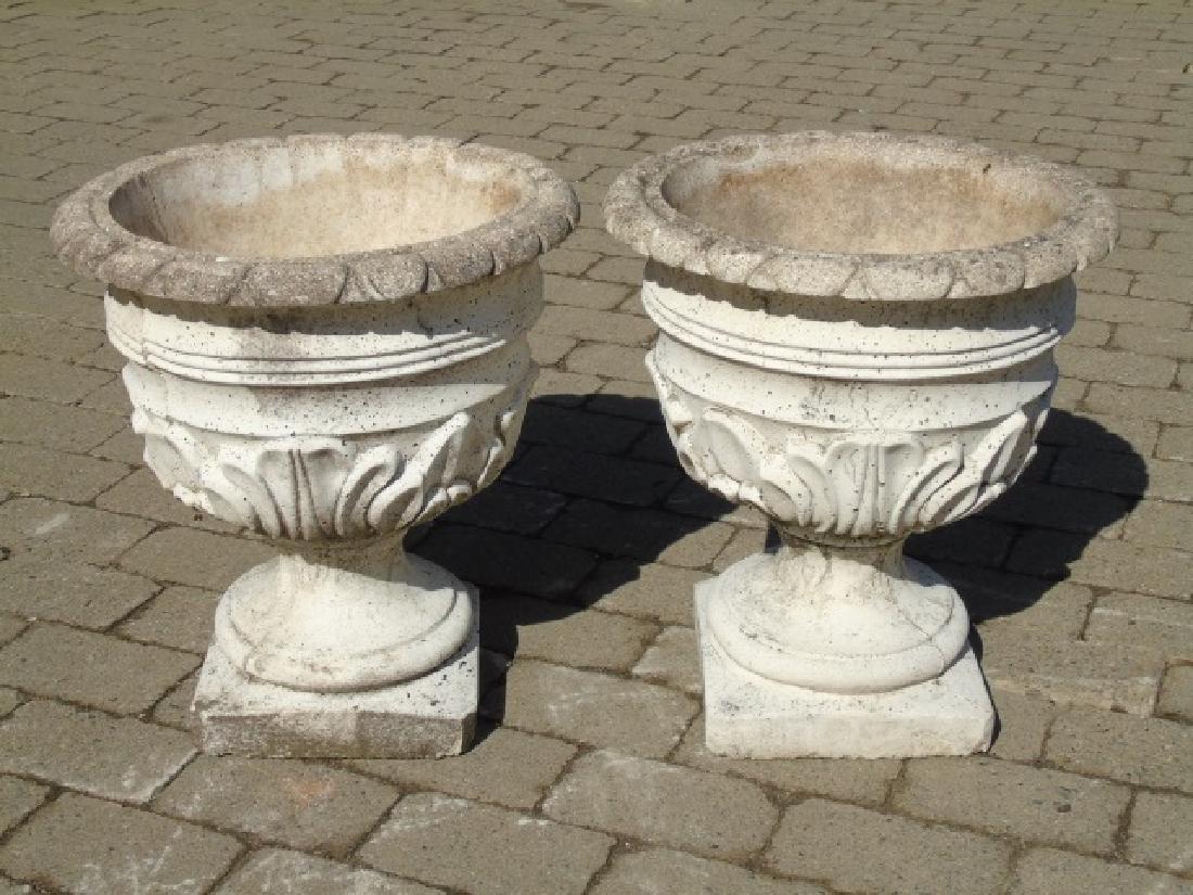 Pair Cast Neo Classical Garden Planter Pots / Urns