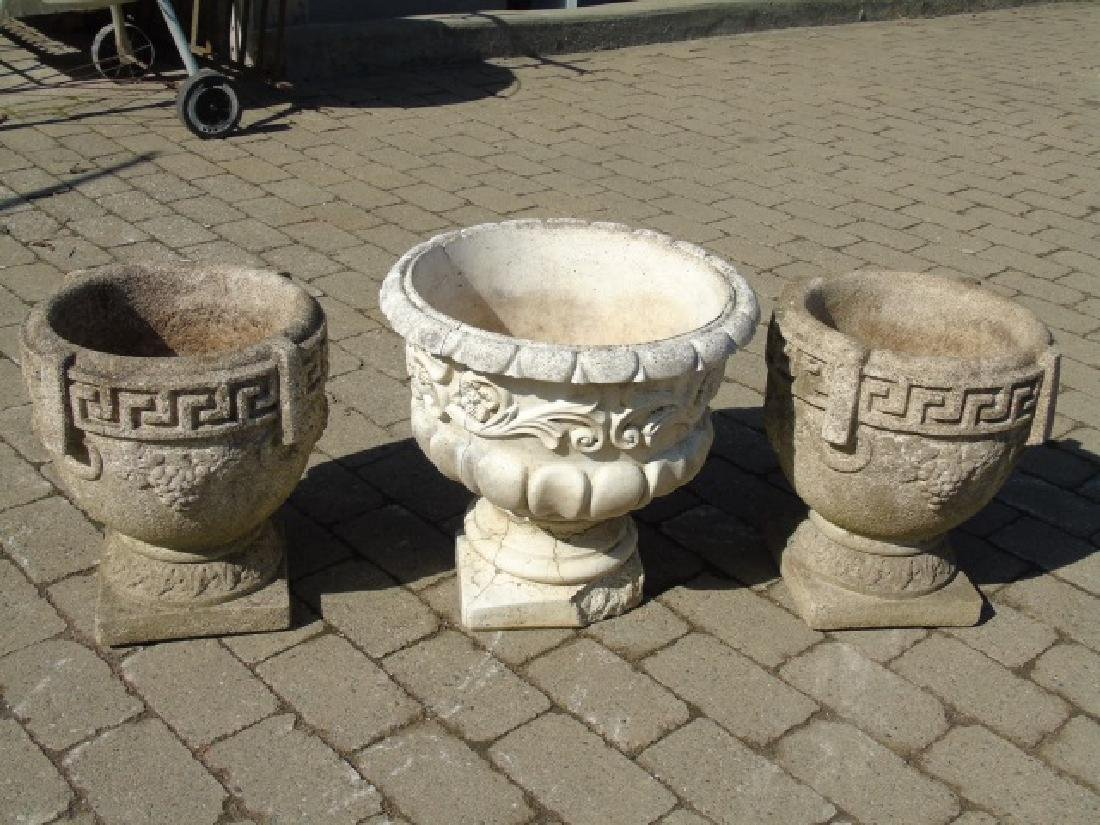 3 Cast Neo Classical Garden Planter Pots / Urns