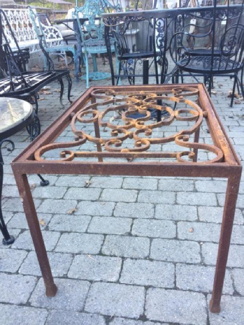 Ornate Vintage Wrought Iron Table Base Rust Patina - 2