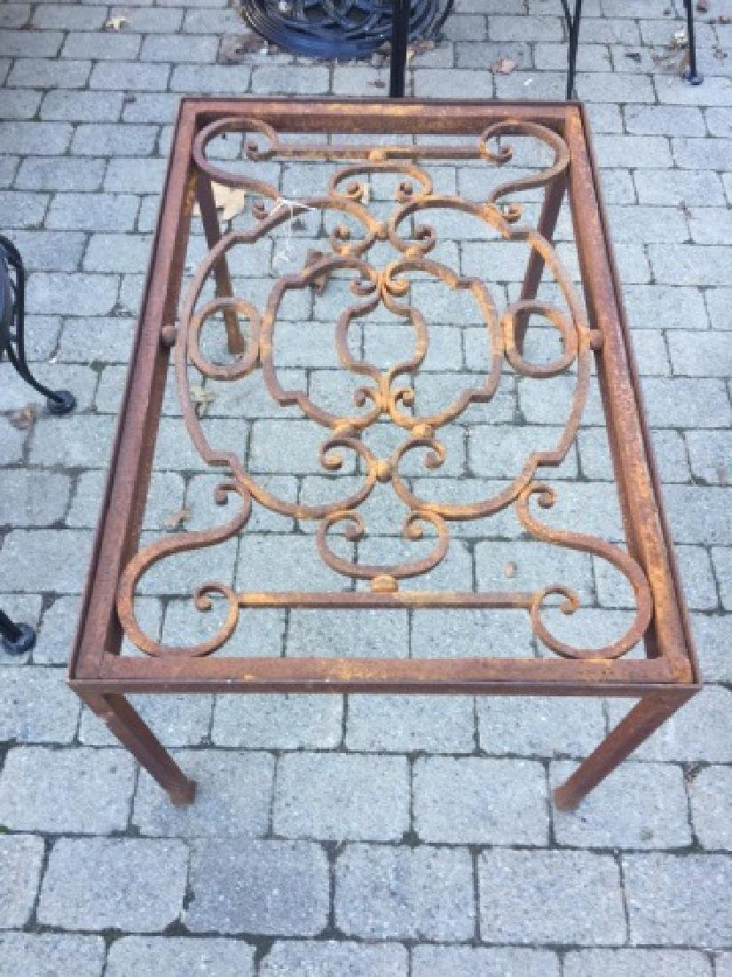 Ornate Vintage Wrought Iron Table Base Rust Patina - 3