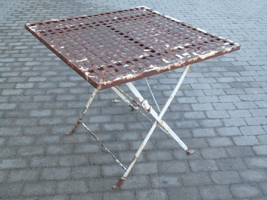 Woven White Painted Metal Tape Folding Table