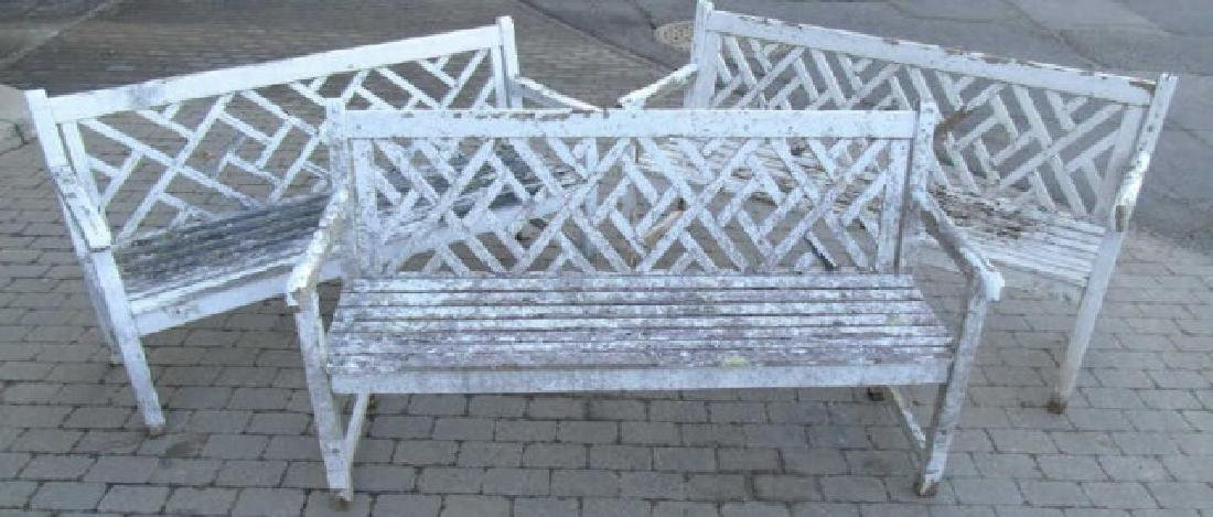 3 White Painted Wood Garden Benches with Wear