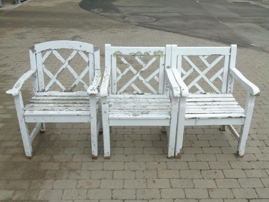 3 Painted White Wood Garden Arm Chairs Some Wear