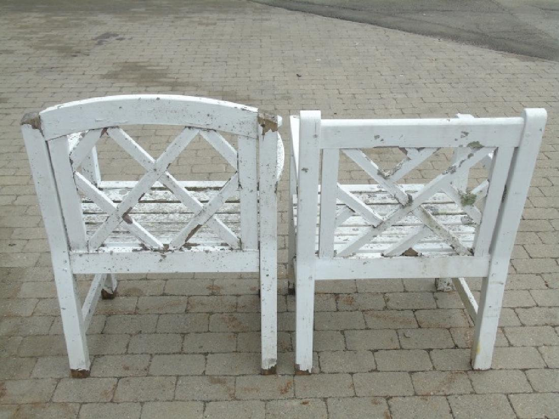 3 Painted White Wood Garden Arm Chairs Some Wear - 2