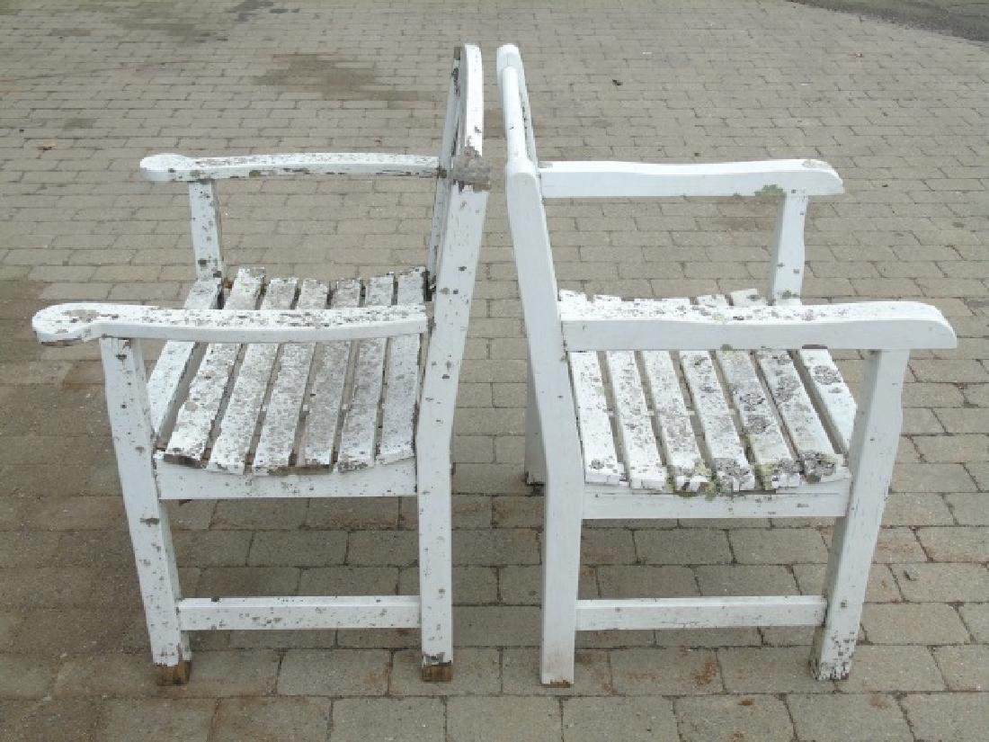 3 Painted White Wood Garden Arm Chairs Some Wear - 3
