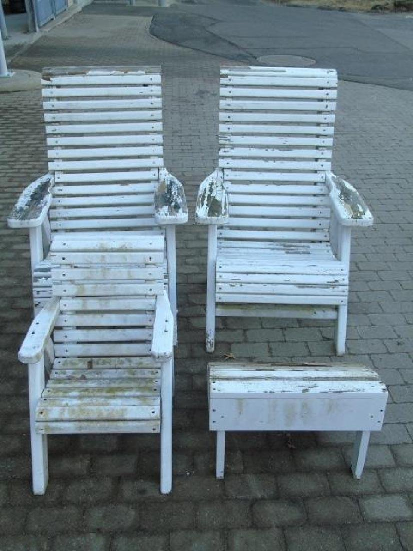 2 Adult 1 Child Wooden Adirondack Chairs 1 Stool