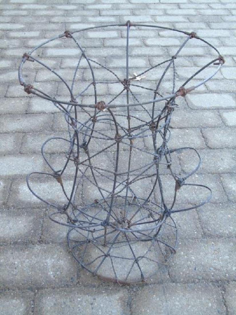 Wire & Rebar Chicken Garden Figure & 2 Wire Urns - 2