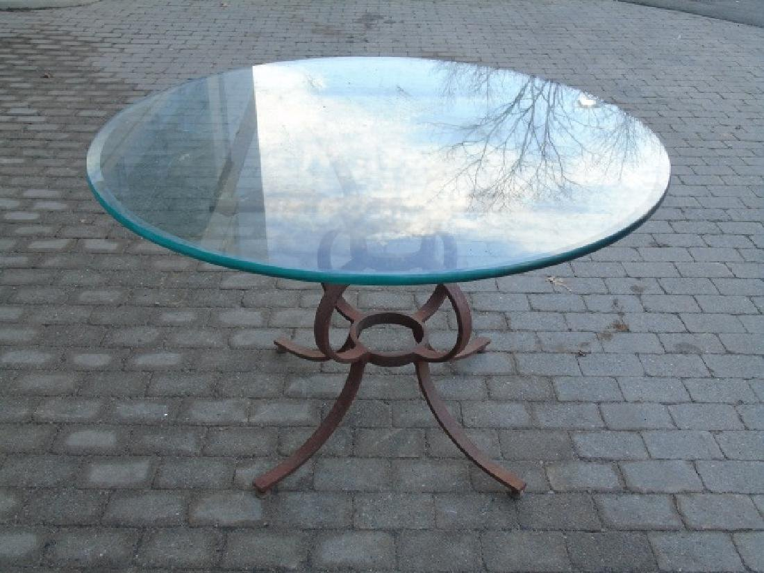 Large Wrought Iron Table Base w Round Glass Top