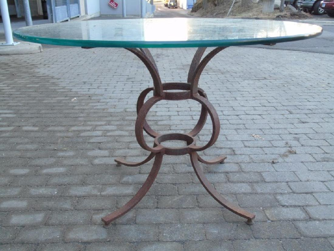 Large Wrought Iron Table Base w Round Glass Top - 2