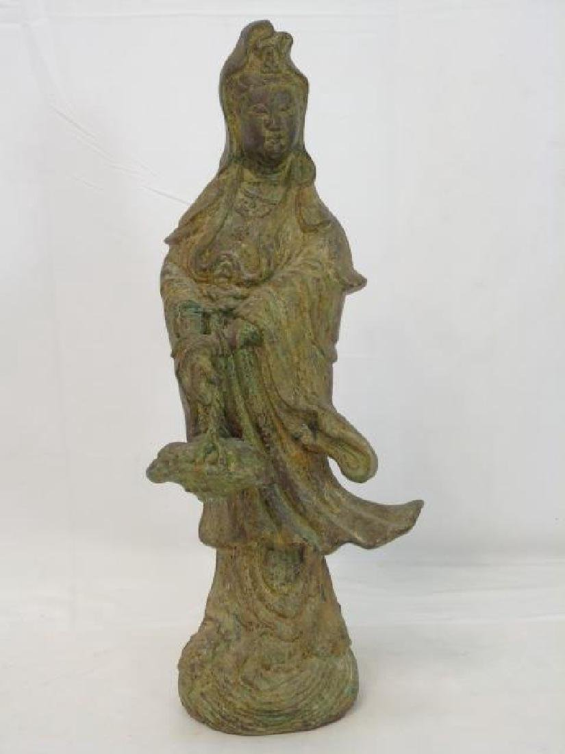 Antique Chinese Bronze Buddha w Basket Statue
