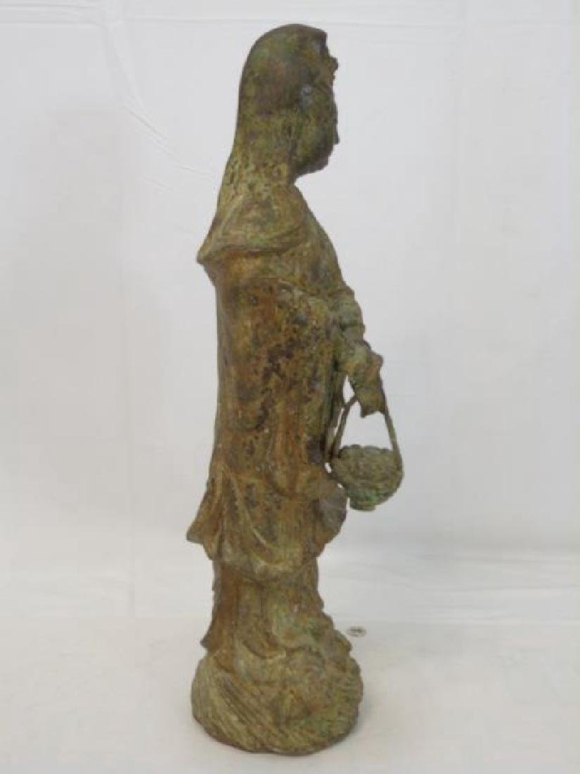Antique Chinese Bronze Buddha w Basket Statue - 2